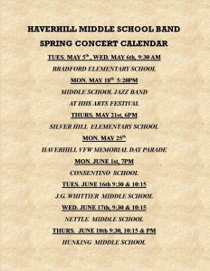 Spring Concert Calendar